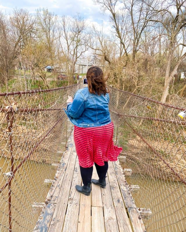 Oklahoma - Pawhuska - Stephanie on the Swinging Bridge