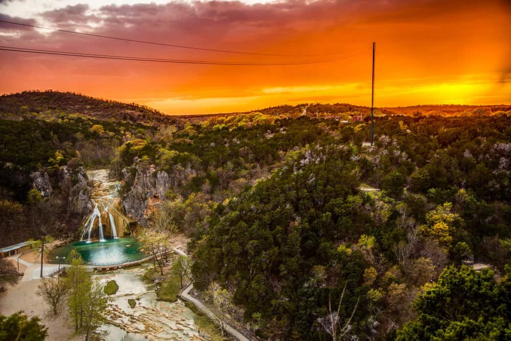 USA - Oklahoma - Sunset at Turner Falls in Oklahoma's Arbuckle Mountains