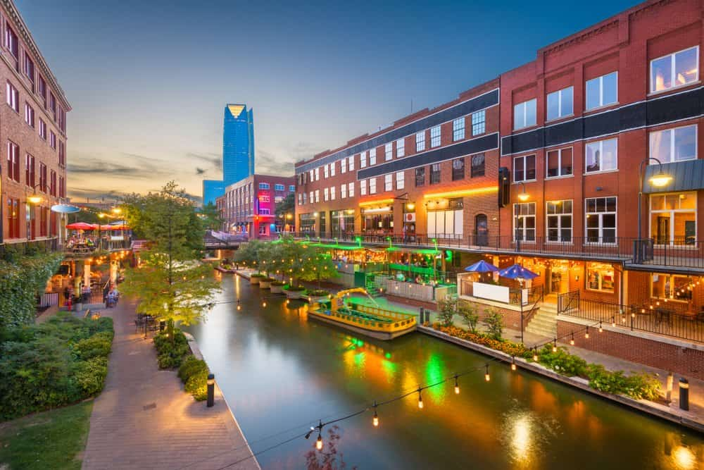 USA - Oklahoma - Oklahoma City - Oklahoma City, Oklahoma, USA cityscape in Bricktown at dusk.