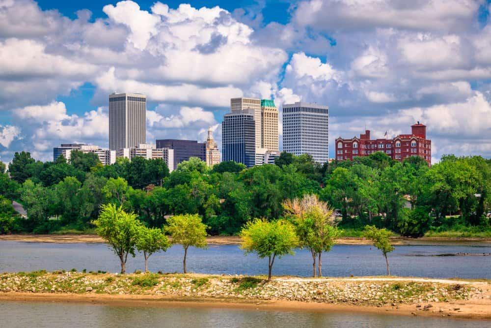 USA - Oklahoma - Tulsa - Tulsa, Oklahoma, USA downtown skyline on the Arkansas River in the afternoon.