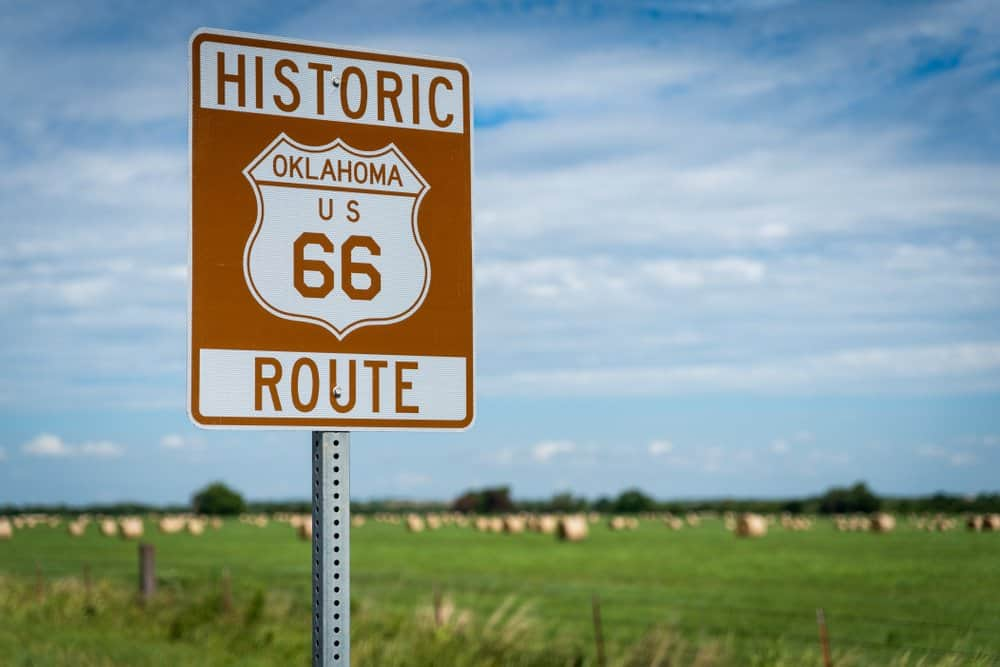 USA - Oklahoma - Historic brown and white sign on US Route 66 in Oklahoma