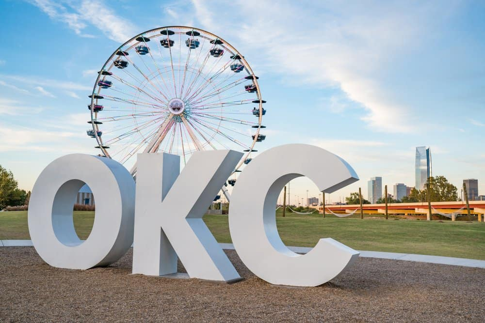 USA - Oklahoma - Oklahoma City - Skyline of Oklahoma City, OK with OKC sign and ferris wheel