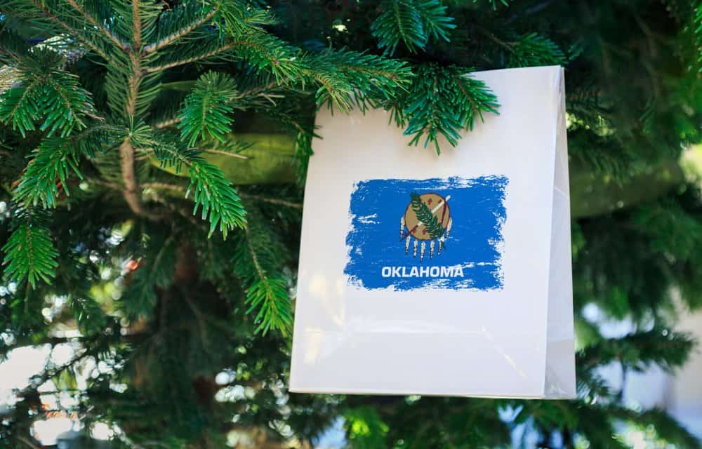 USA - Oklahoma - Oklahoma state flag printed on a Christmas shopping bag. Close up of a shopping bag as a decoration on a Xmas tree on a street. Christmas shopping, local market sale and deals concept.