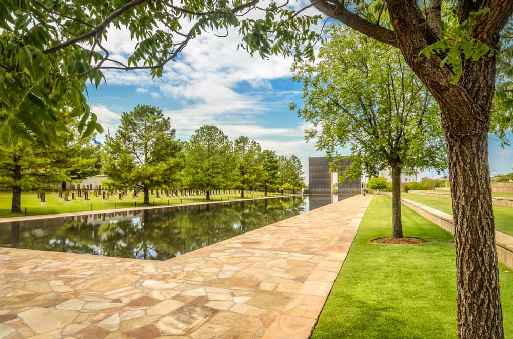 USA - Oklahoma - Oklahoma City - A pool stands where the terrorist attack took place in Oklahoma