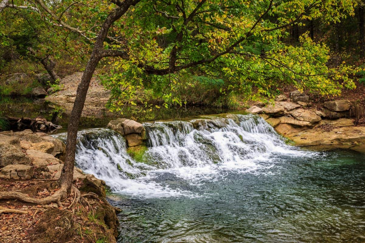Small waterfall at the Chickasaw National Recreation Area in Sulphur Oklahoma.