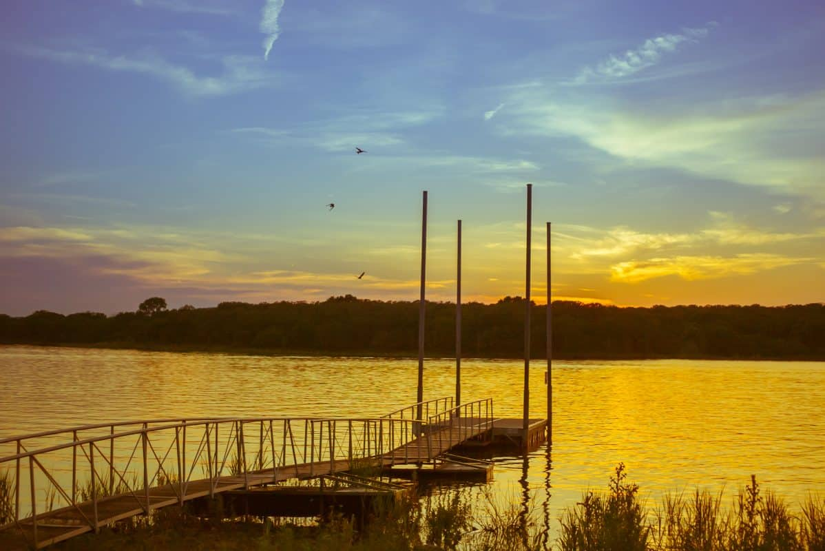 Golden sunset over the port at lake Thunderbird, Norman, Oklahoma