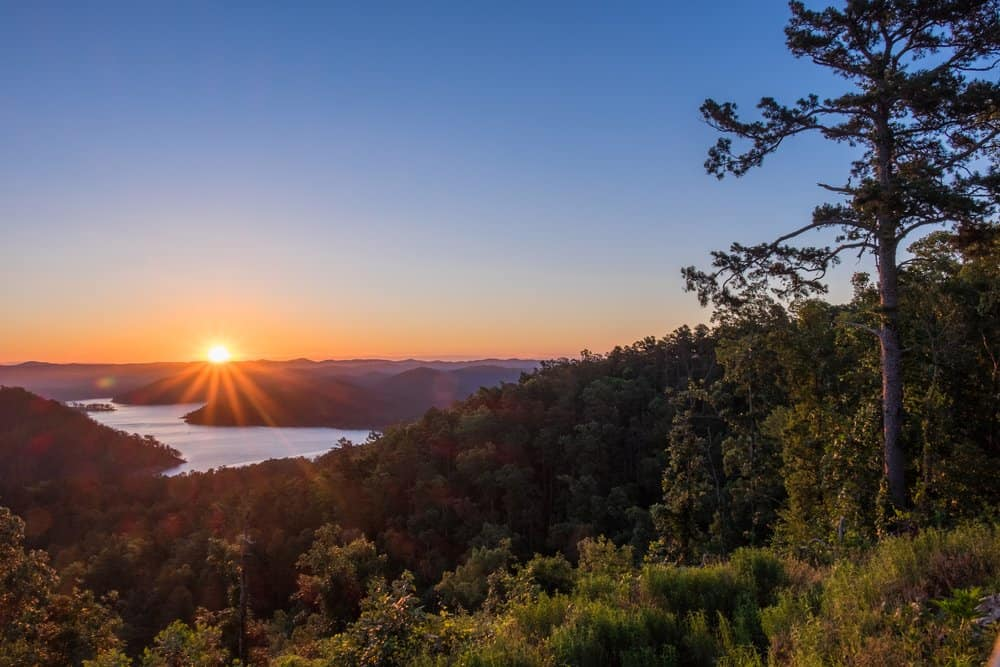 Oklahoma - Broken Bow - Sunrise over the mountains at Broken Bow lake