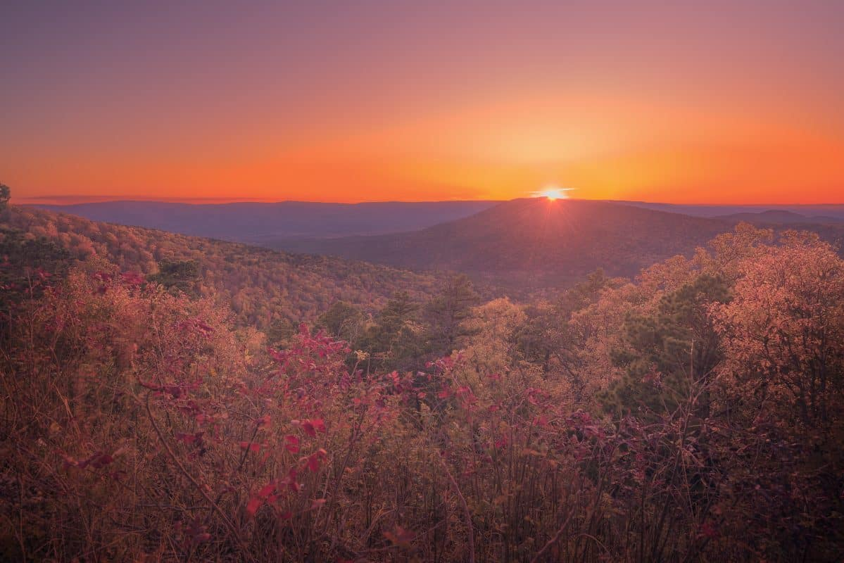 Autumn sunset with fall foliage in the Ozark mountains of Oklahoma and Arkansas