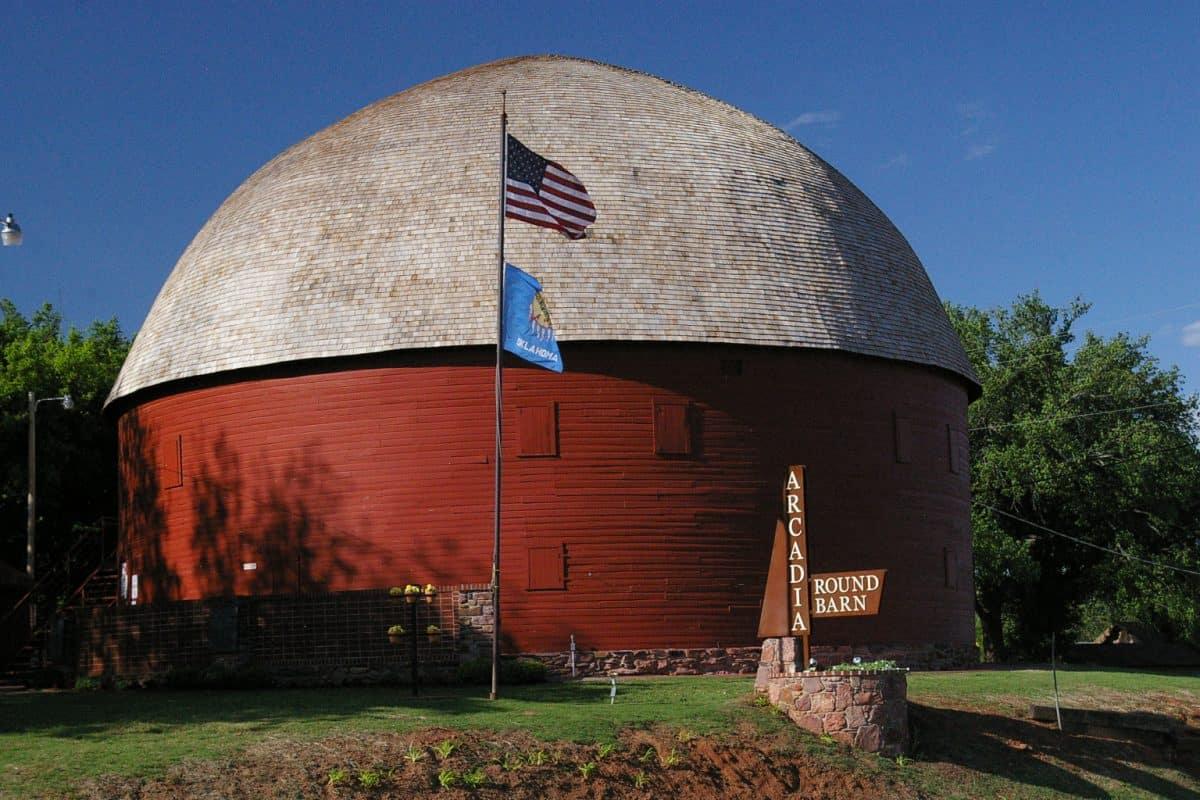 USA - Oklahoma - Arcadia - The Arcadia Round Barn. Photo courtesy of the Arcadia Historical and Preservation Society.