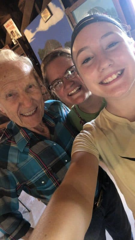 USA - Oklahoma - Arcadia - Visitors love to take selfies with Mr. Sam, who tells stories on Mondays at the Arcadia Round Barn. Photo courtesy of the Arcadia Historical and Preservation Society