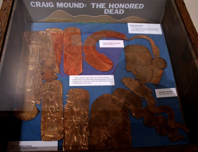 Oklahoma - Spiro Mounds - A selection of replicas of copper repousse plates on display at the Spiro Mounds site in LeFlore County, Oklahoma.