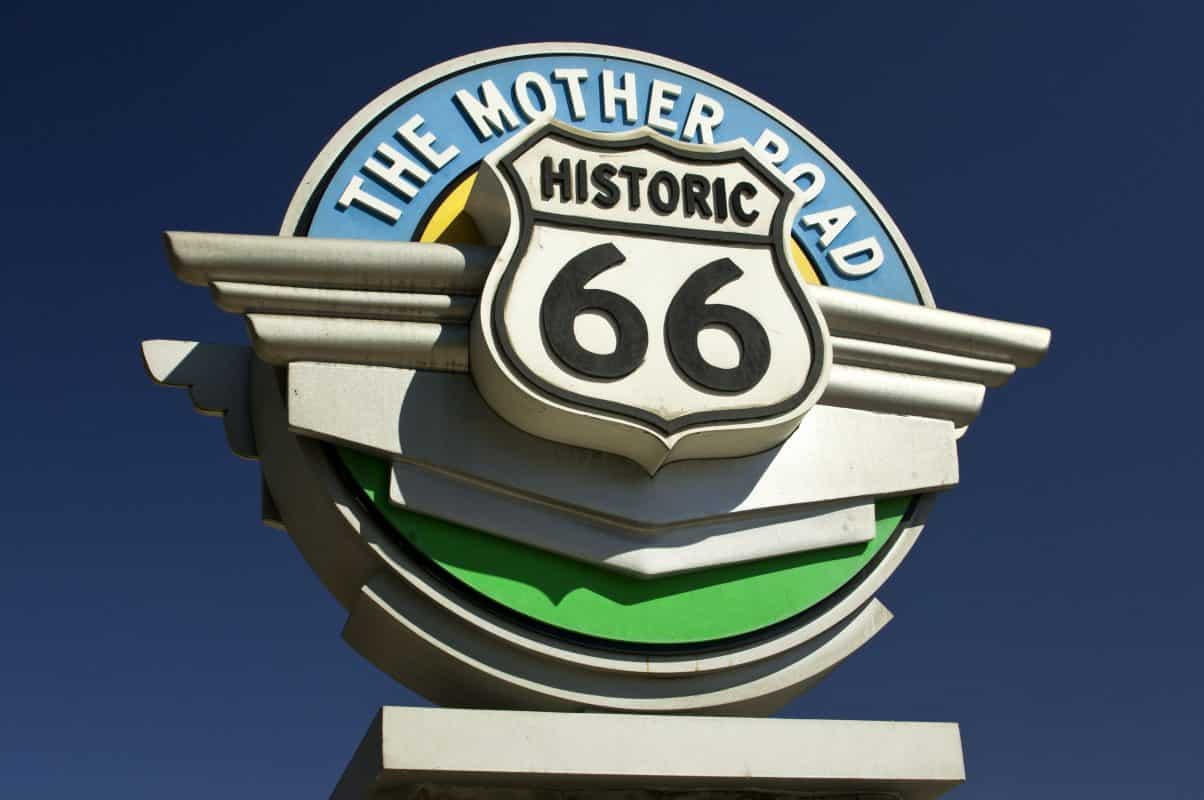 Historic Route 66 sign against blue sky in the state of California, USA