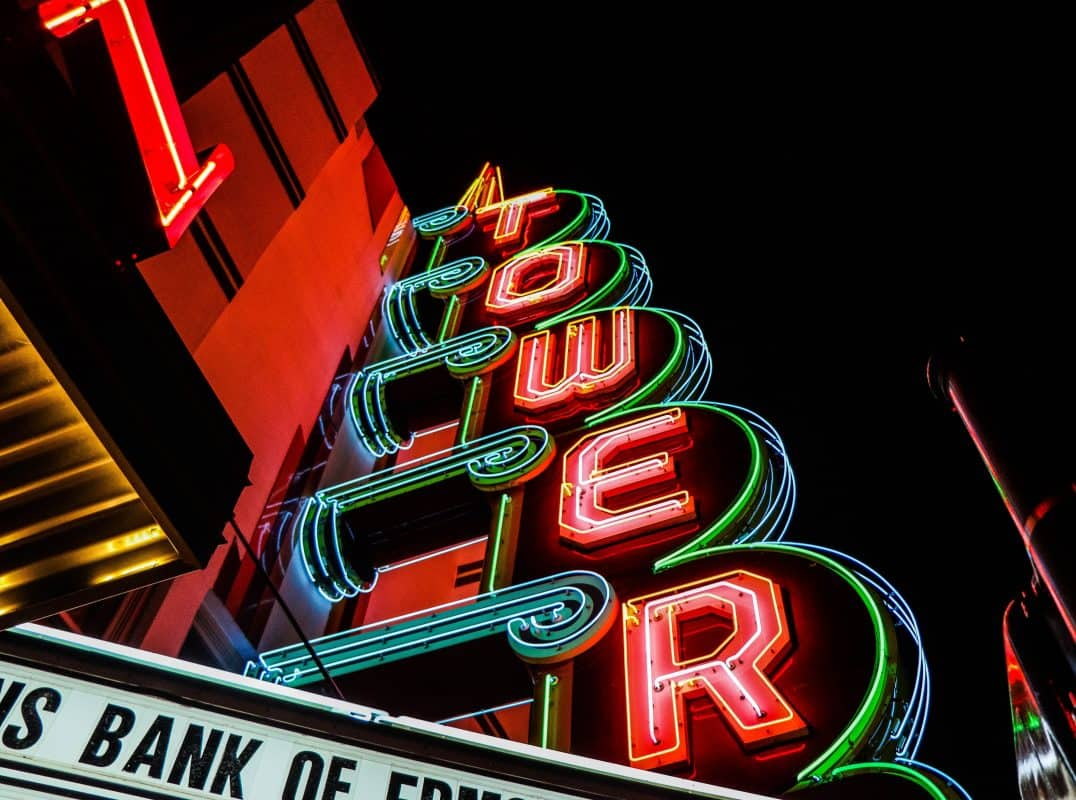 Tower Theater Neon Lights in Oklahoma City.