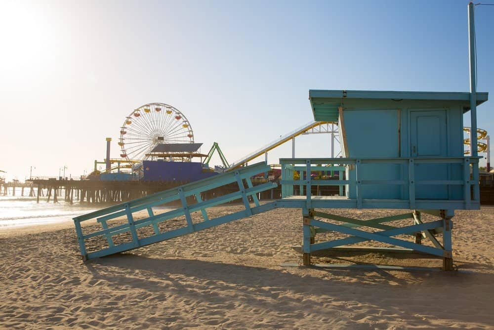 USA - California - Santa Monica beach lifeguard tower in California USA
