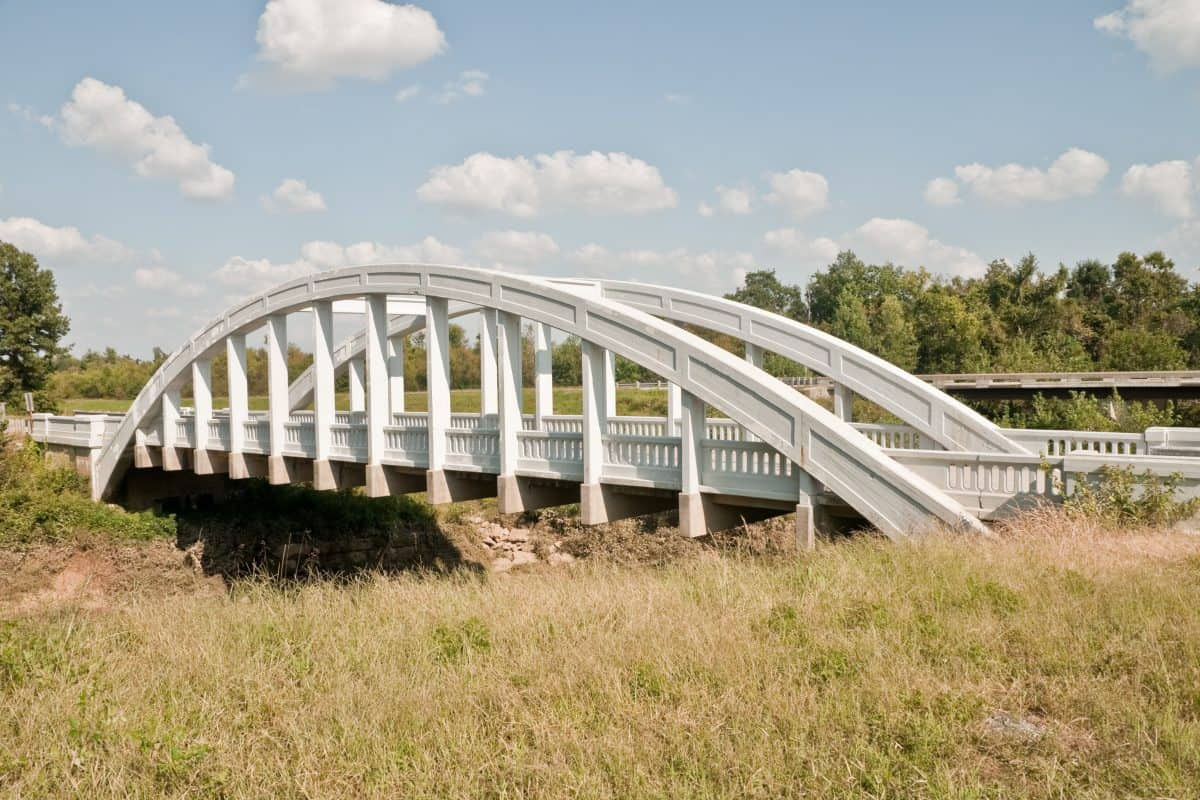Rainbow Curve Bridge constructed in 1923 over Brush Creek in Kansas - the only remaining Marsh Arch Bridge on Route 66