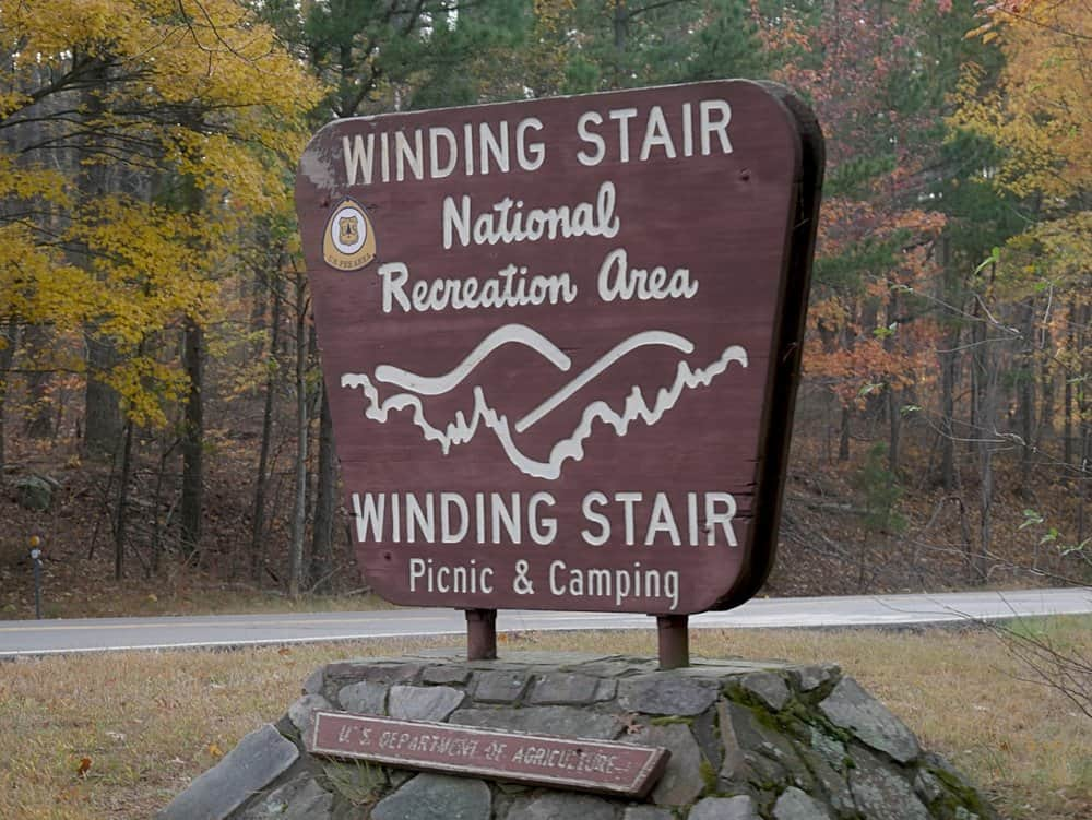 Oklahoma - Big sign by the roadside of Highway 1 at the Winding Stair Mountain National Recreation Area and campsite at the Ouachita National Forest in Muse, Oklahoma.