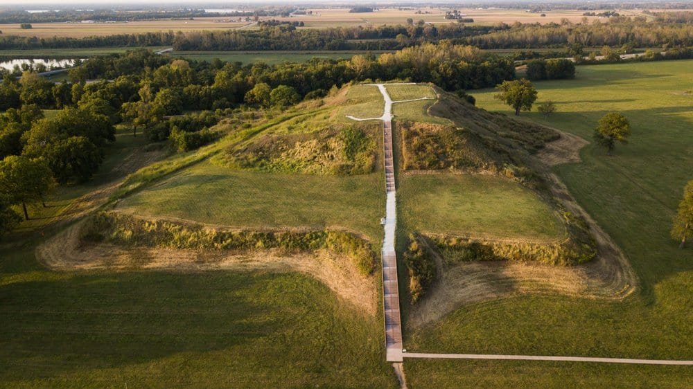 The largest earthen mound in North America, aerial view of Monk's Mound at Cahokia. Collinsville Illinois