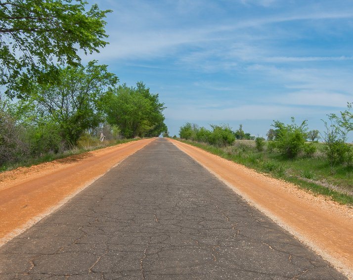 "Route 66: Sidewalk Highway, Miami, OK Single lane ""sidewalk highway"", a.k.a. ""ribbon road"" - to save money Route 66 is just 9 feet wide here, Miami, Oklahoma"