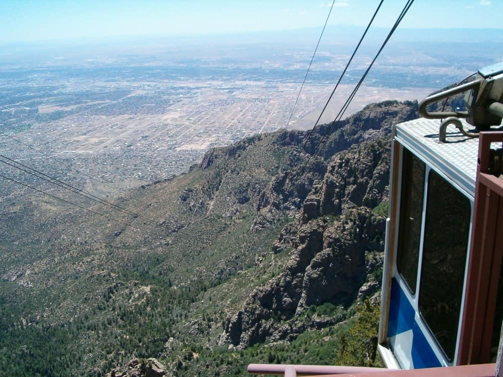 Albequerque New Mexico - Rio Grande Valley and tram car on top of Sandia Peak