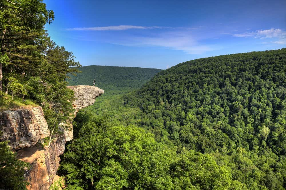 USA - Arkansas - Hiker on the famous Hawksbill Crag in Arkansas.