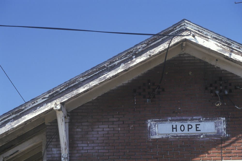 USA - Arkansas - Train station sign for city of Hope in Hempstead County, Arkansas