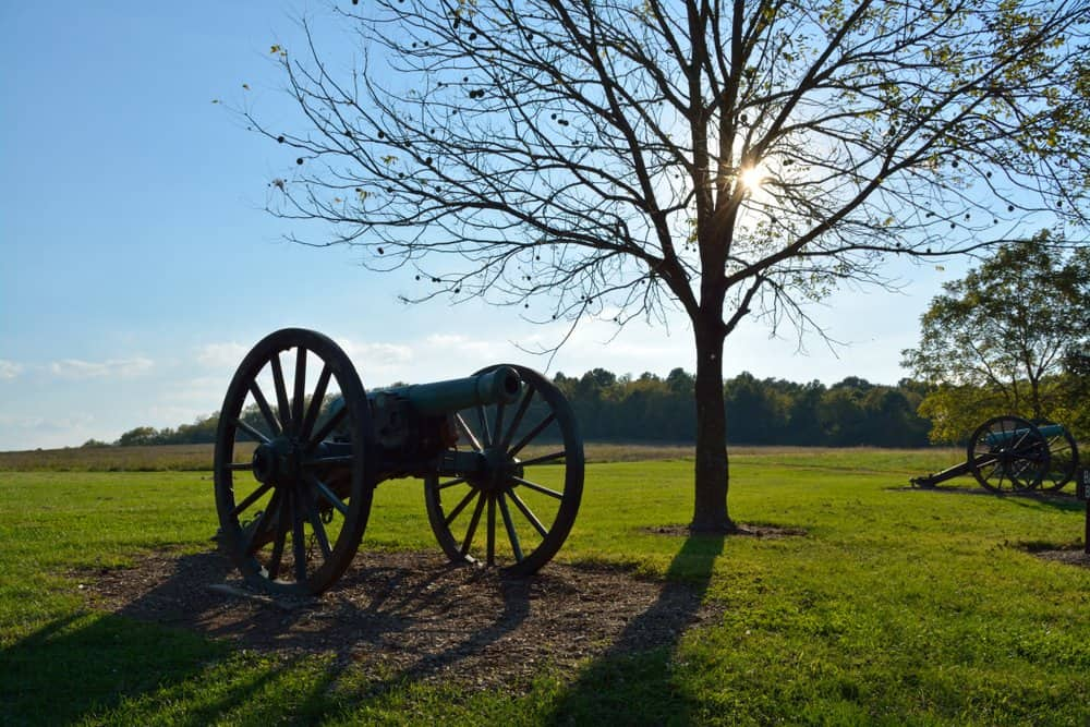 Missouri A cannon stands at Wilson's Creek Battlefield.