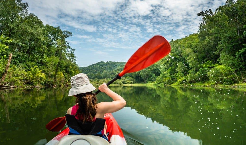 USA - Arkansas - Girl Paddling on the Buffalo River Arkansas
