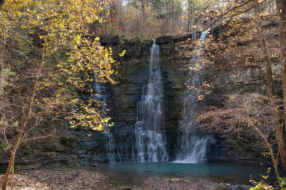USA - Arkansas - Twin Falls on a Crisp Autumn Day in Arkansas