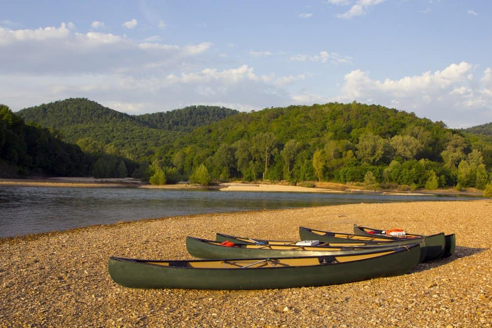 USA- Arkansas - Canoes on the bank of the Buffalo River, Arkansas