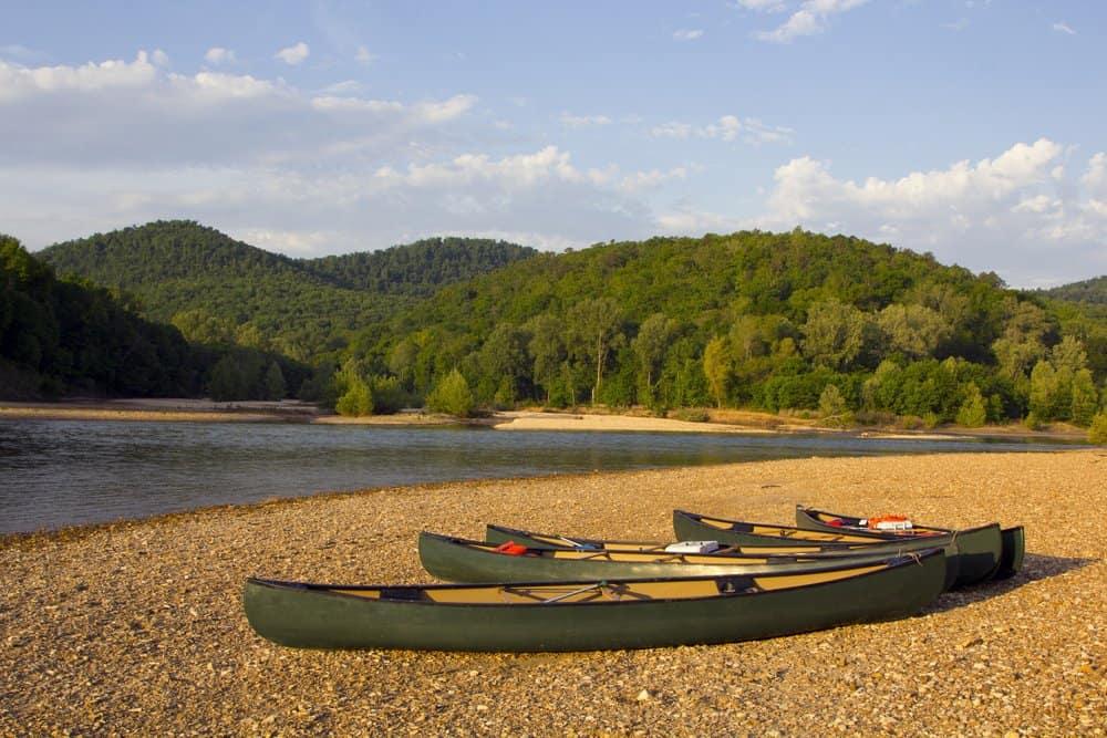 USA- Arkansas - Canoes on the bank of the Buffalo River, Arkansas