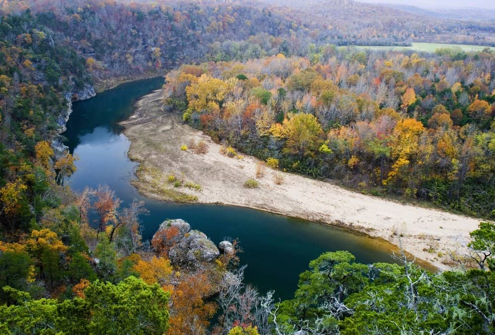 USA - Arkansas - Late fall colors from atop the Tie Slide overlook, Buffalo National River, Arkansas