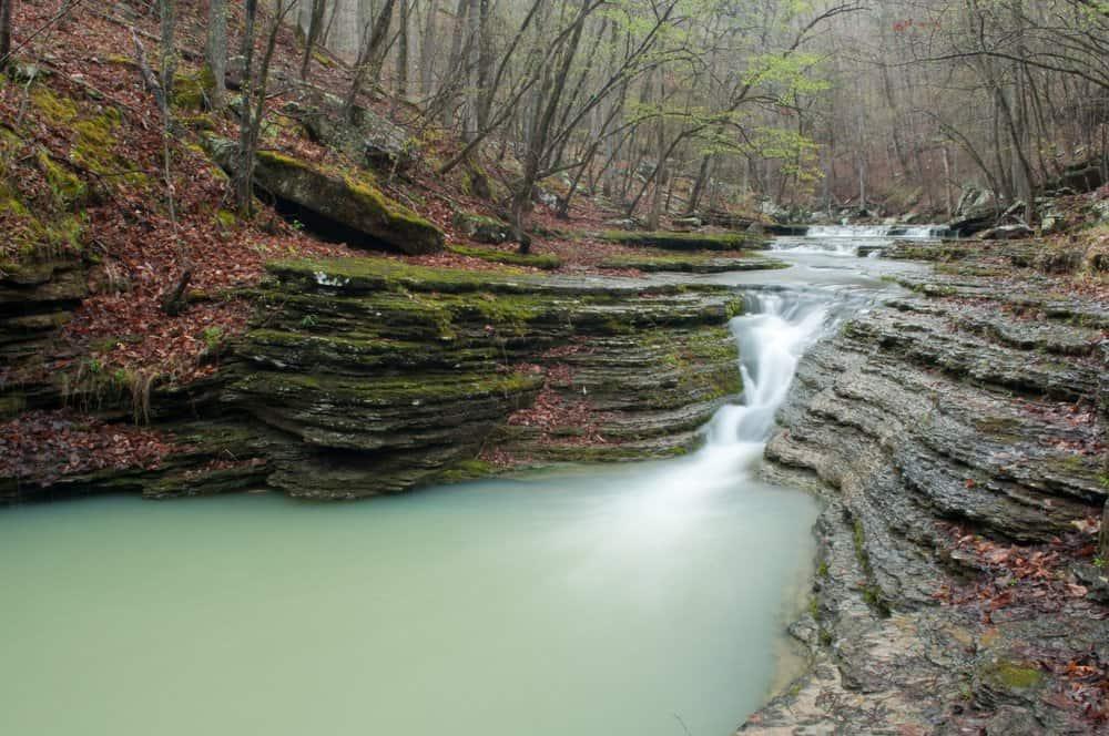 USA - Arkansas - A small cascade along spirits creek near the Ozark Highland Trail.