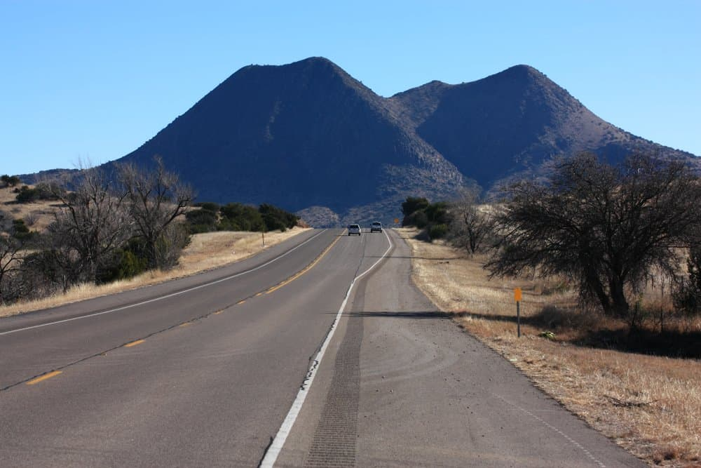 USA - Texas - twin peaks and highway Lonesome Highway Texas Scenic Drive