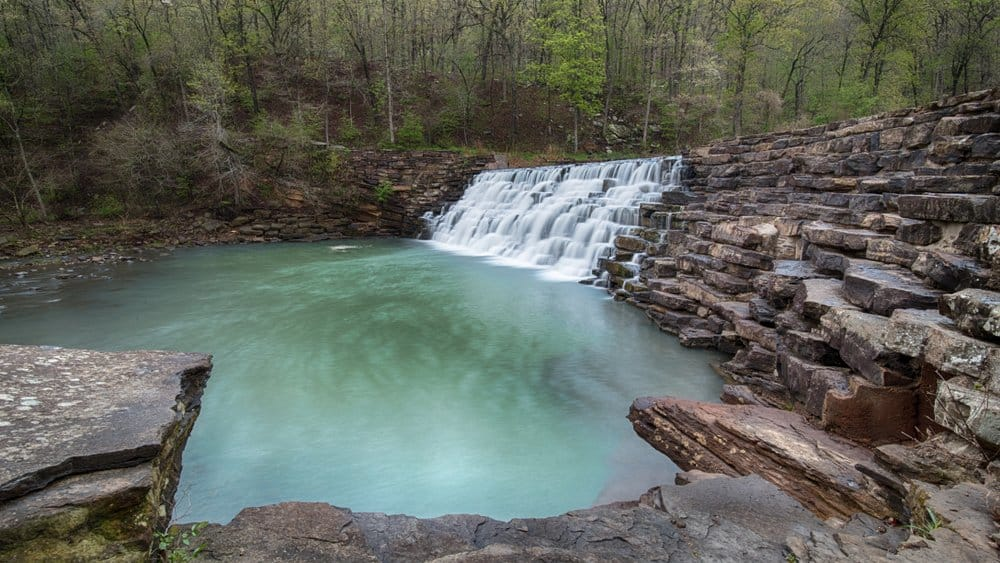 USA - Arkansas - Lee Creek spills across Lee Creek Dam, at Devil's Den State Park, in Arkansas.