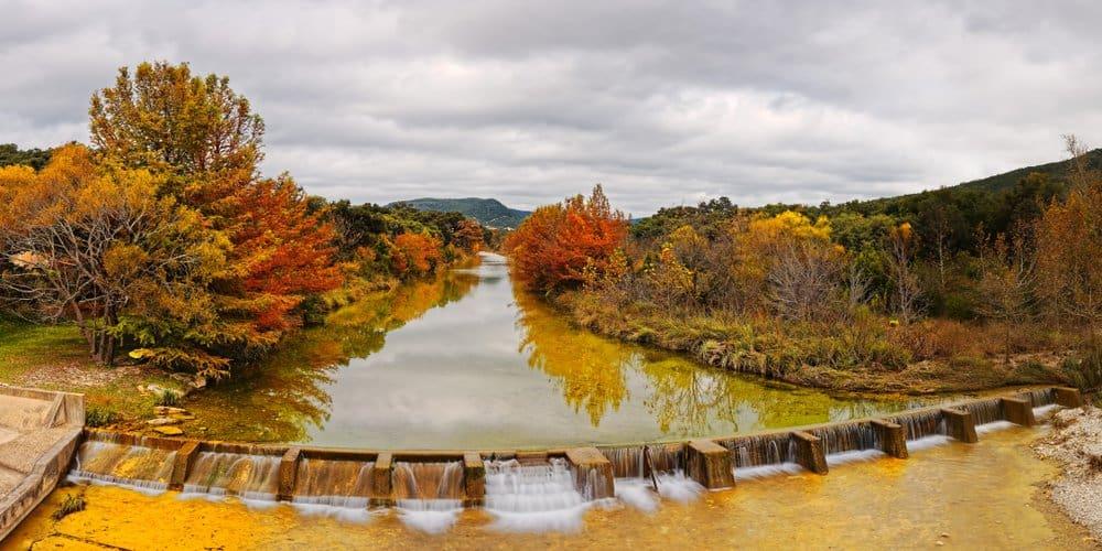 USA - Texas - Fall Foliage Panorama of Sabinal River Dam at Vanderpool - Utopia County Texas Hill Country