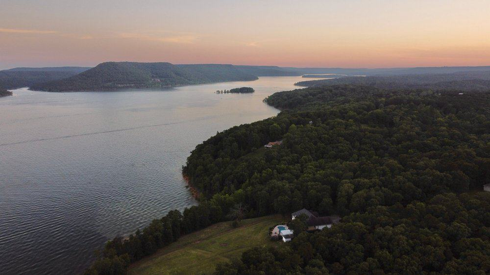 USA - Arkansas - Sunset over Greers Ferry Lake Arkansas USA from a drone
