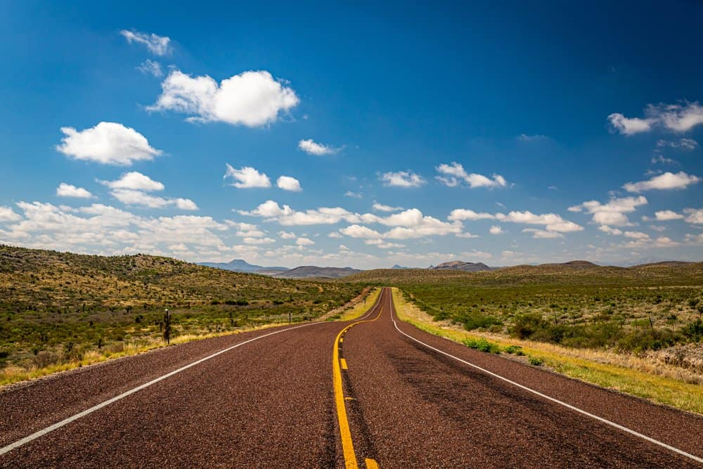 Texas - A southbound view down US Highway 385 in Brewster County, Texas.