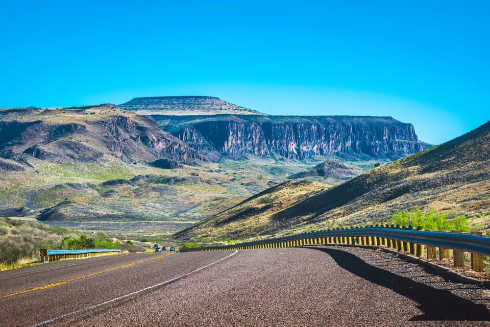 USA - Texas - A road winds through the Davis Mountains in west Texas.