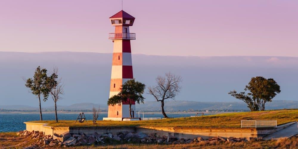 USA - Texas - Lake Buchanan Lighthouse In Golden Hour Sunset Light - Texas Hill Country