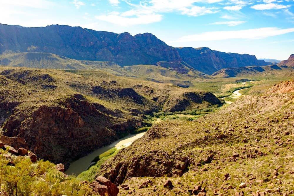 USA - Texas - view of the Rio Grande on the border of Mexico and the United States from a lookout along Farm to Market Road 170 in Presidio County, Texas. To the left is Mexico and to the right, the US.