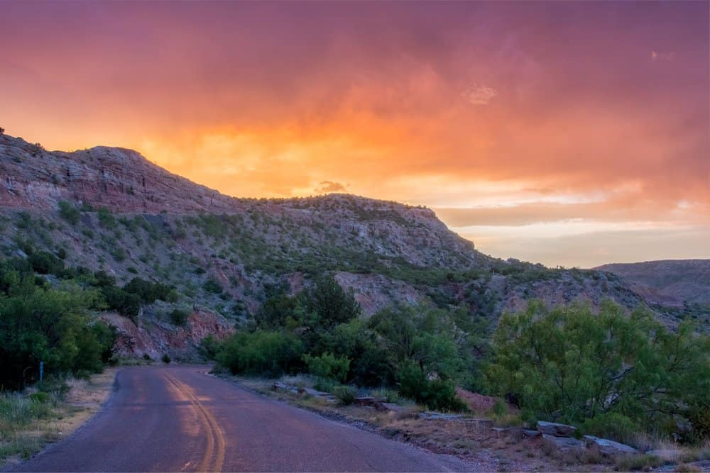 Texas - Sunset and Road at Palo Duro in west Texas