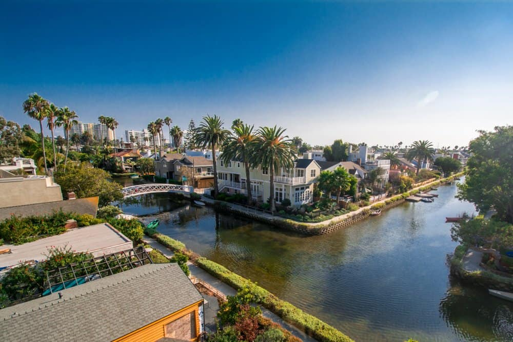 California - Canals in the residential area of Venice Beach, Los Angeles, CA, USA