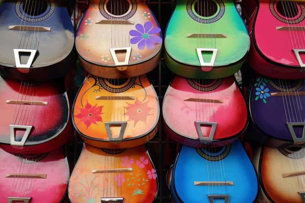 California- Color full Guitars closeup. Photo taken at Olvera Street Plaza, Los Angeles, California
