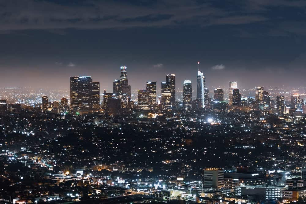 California - Aerial night view of financial district skyline in downtown Los Angeles; California