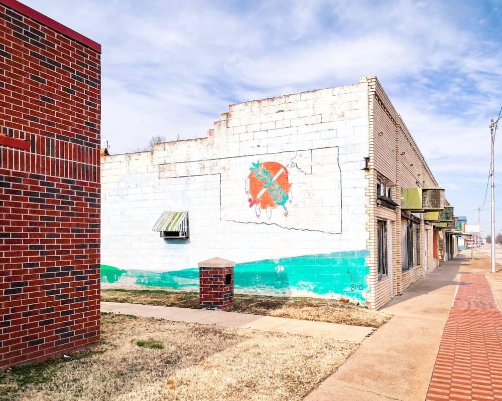 Oklahoma - Mural of Oklahoma flag in Shidler, Oklahoma, Osage County