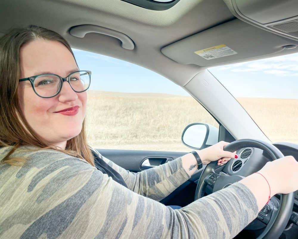 Oklahoma - Pawhuska - Tallgrass Prairie Preserve - Stephanie driving