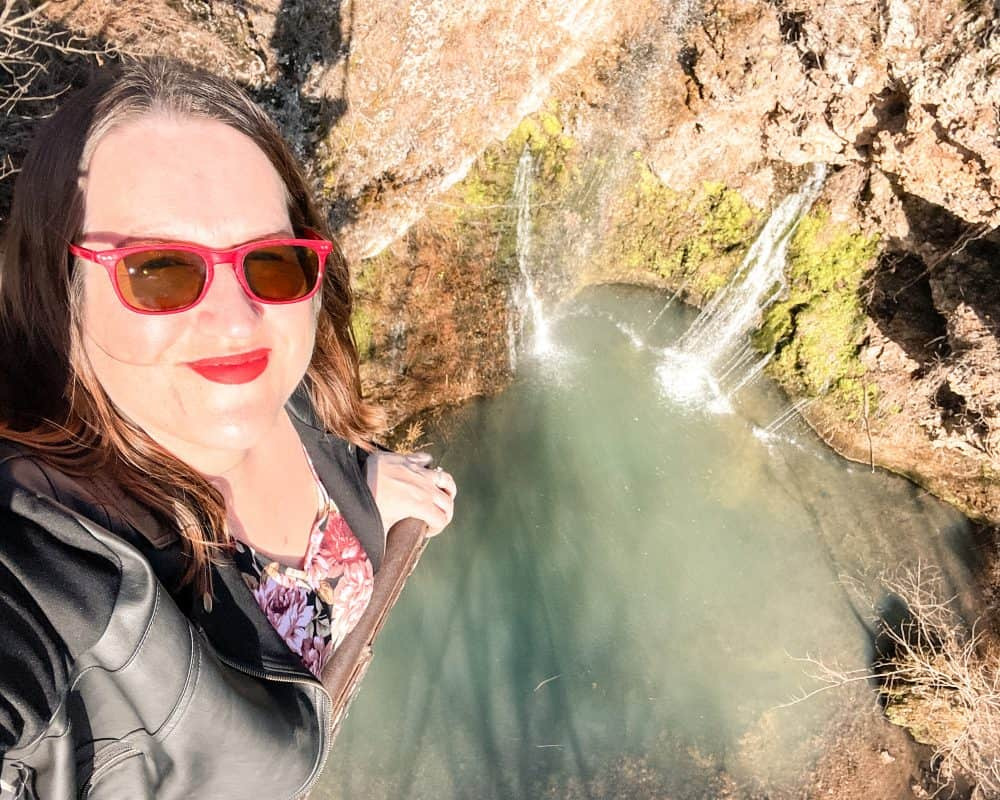 Oklahoma - Colcord - Natural Falls State Park - Dripping Springs Falls - Overlook - Stephanie Selfie