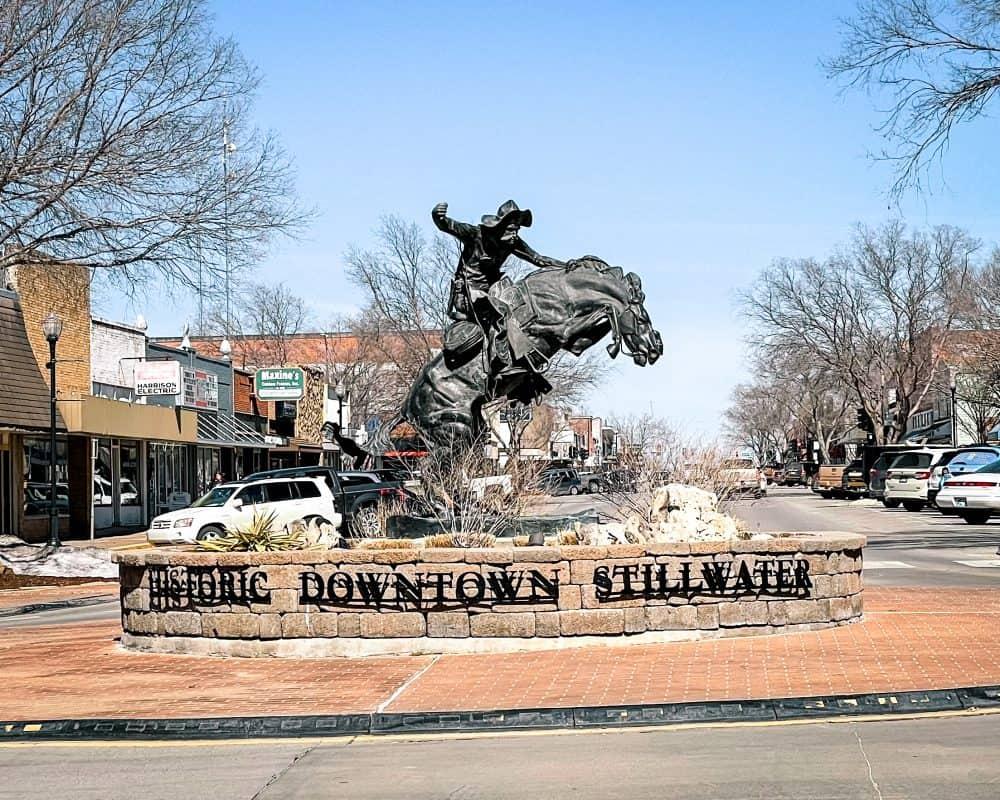Oklahoma - Stillwater - Downtown Stillwater Cowboy Statue