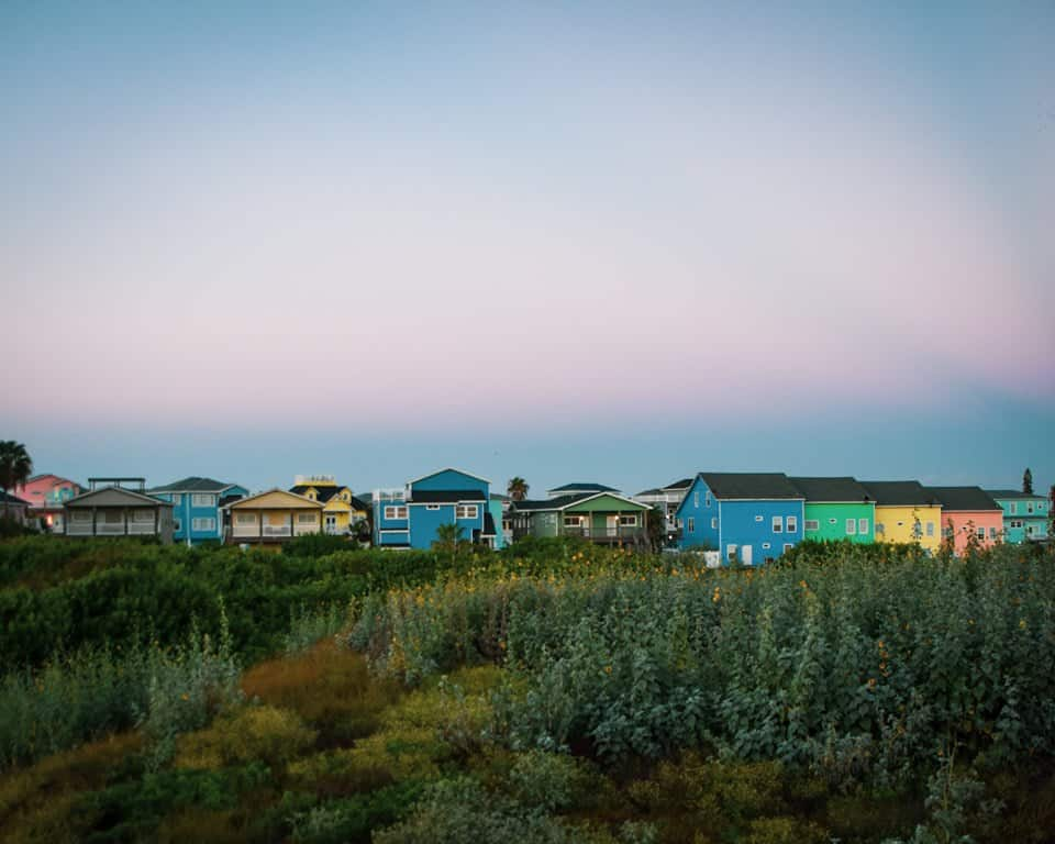 Texas - Port Aransas - Colorful Houses at Sunrise