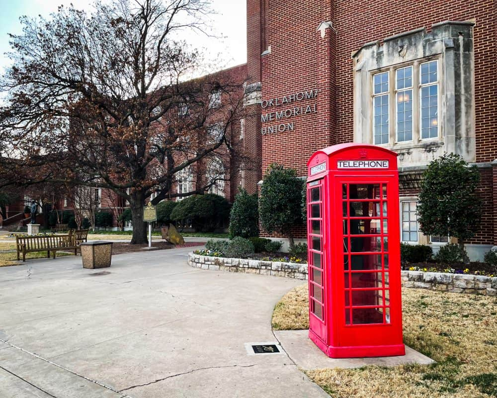 Oklahoma - Norman - Campus Telephone Booth at Oklahoma Memorial Union Student Union